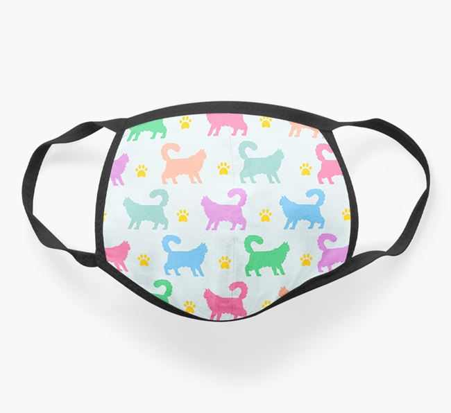 'Colorful Cat Silhouette Pattern' Face Mask