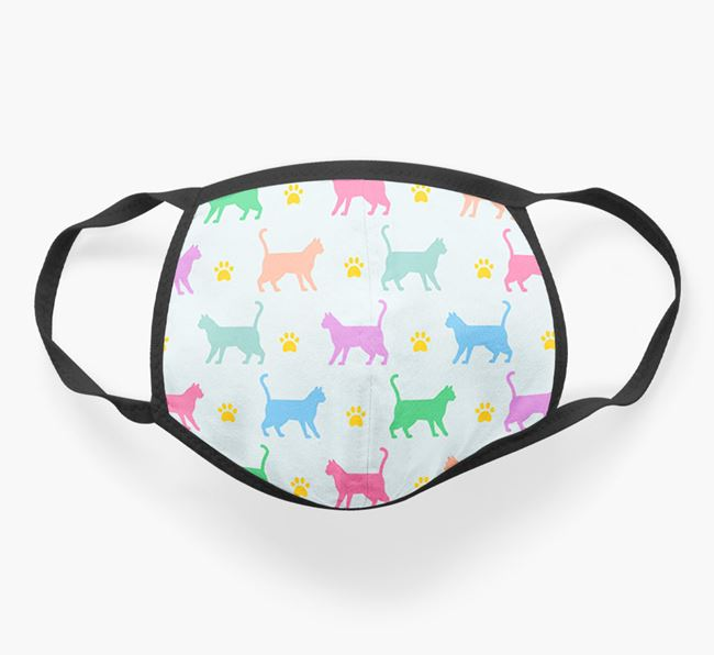 'Colorful Siamese Silhouette Pattern' Face Mask