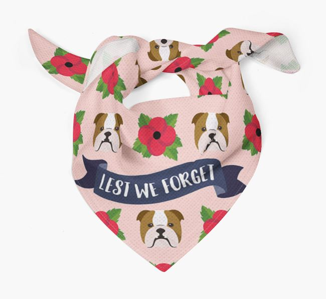 'Lest We Forget' - Personalised English Bulldog Remembrance Day Banana