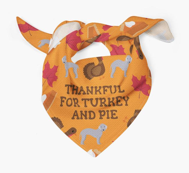 'Thankful For Turkey and Pie' - Personalized Bedlington Terrier Thanksgiving Bandana