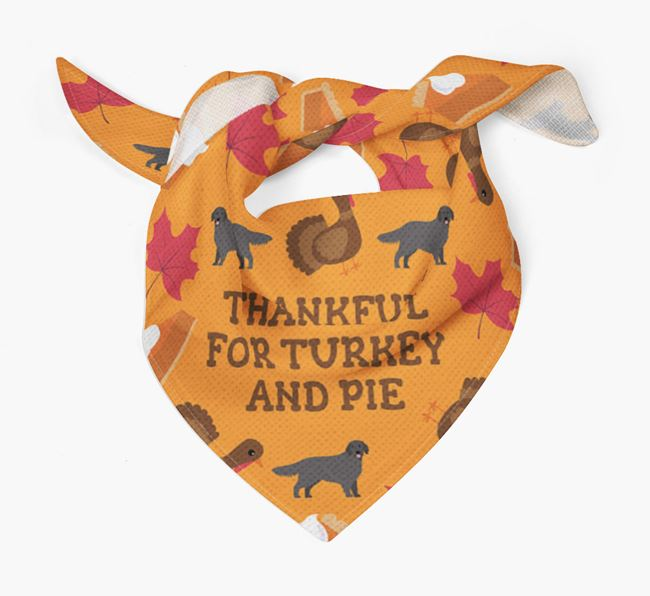 'Thankful For Turkey and Pie' - Personalized Flat-Coated Retriever Thanksgiving Bandana