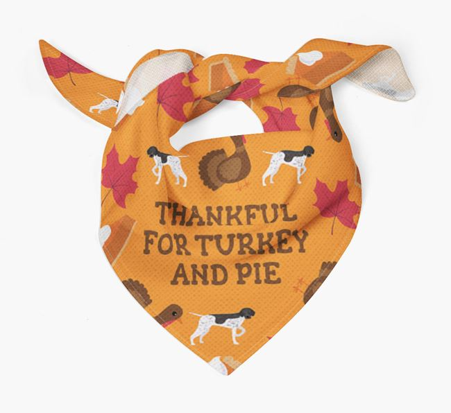 'Thankful For Turkey and Pie' - Personalized German Shorthaired Pointer Thanksgiving Bandana