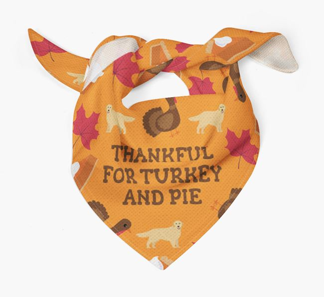 'Thankful For Turkey and Pie' - Personalized Golden Retriever Thanksgiving Bandana