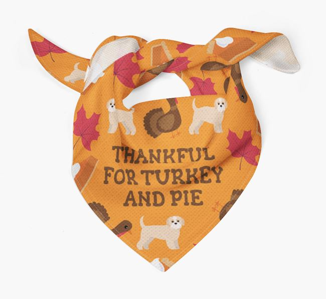 'Thankful For Turkey and Pie' - Personalized Jack-A-Poo Thanksgiving Bandana