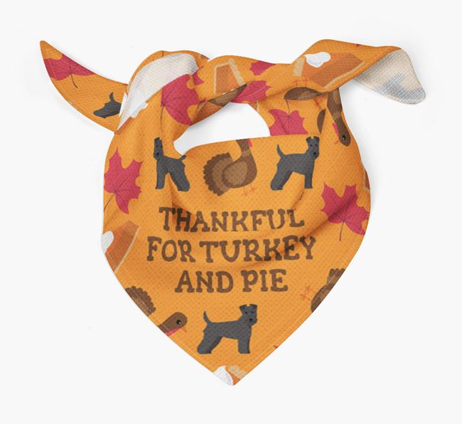 'Thankful For Turkey and Pie' - Personalized Lakeland Terrier Thanksgiving Bandana