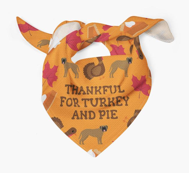 'Thankful For Turkey and Pie' - Personalized Mastiff Thanksgiving Bandana