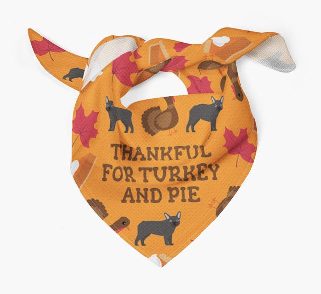 'Thankful For Turkey and Pie' - Personalized Mixed Breed Thanksgiving Bandana