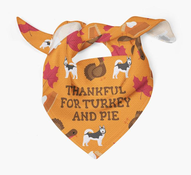 'Thankful For Turkey and Pie' - Personalized Dog Thanksgiving Bandana