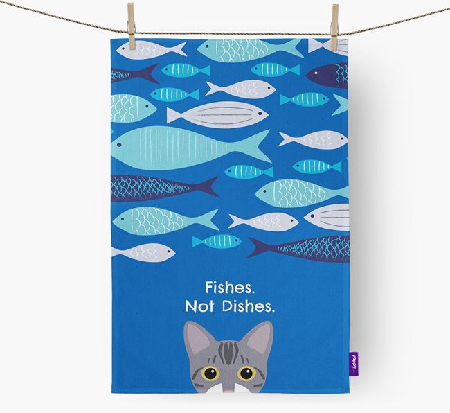 'Fishes, Not Dishes' - Personalised Bengal Tea Towel