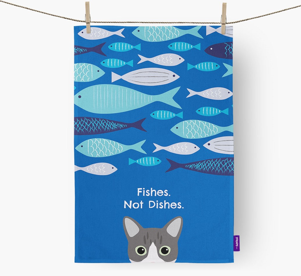 "Personalized Dish cloth featuring your Cat's Icon and the message ""Fishes Not Dishes"""