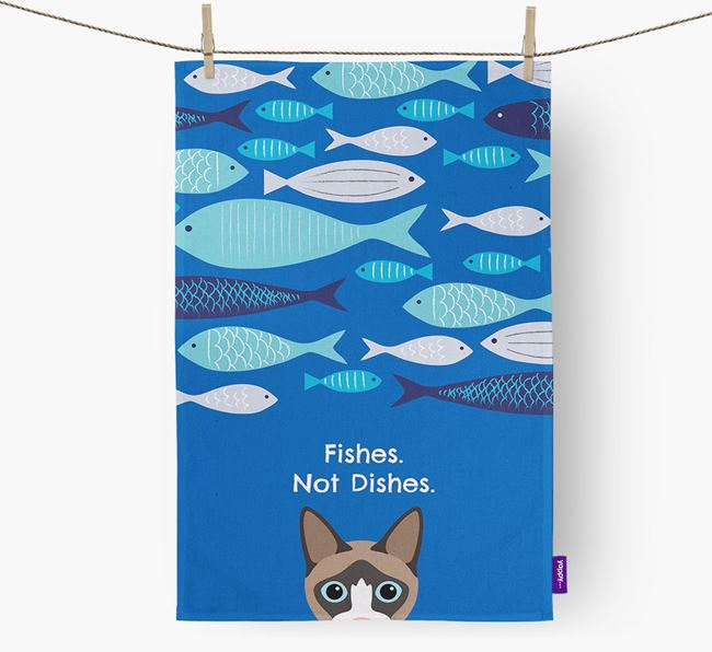 'Fishes, Not Dishes' - Personalized Cat Dish Towel