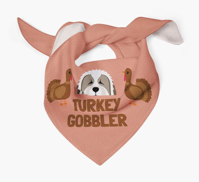 'Turkey Gobbler' - Personalized Bearded Collie Thanksgiving Bandana
