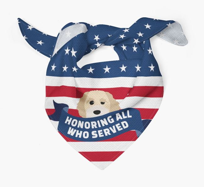 'Honoring All Who Served' - Personalized Cavapoochon Veteran's Day Bandana