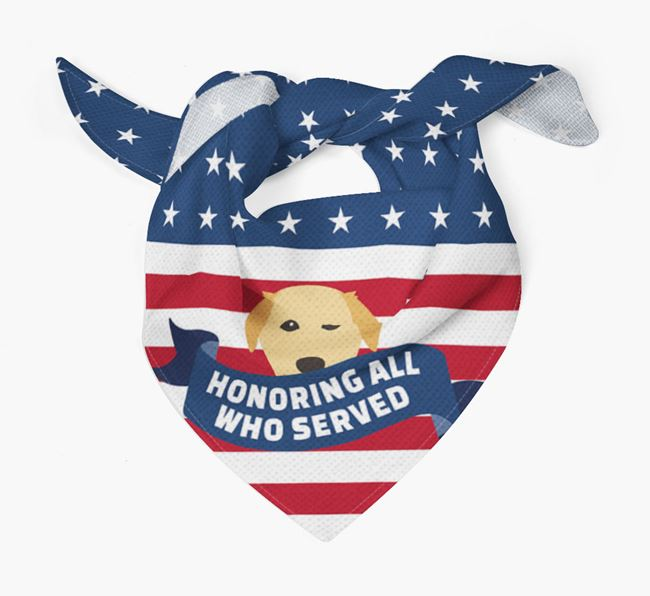 'Honoring All Who Served' - Personalized Golden Labrador Veteran's Day Bandana