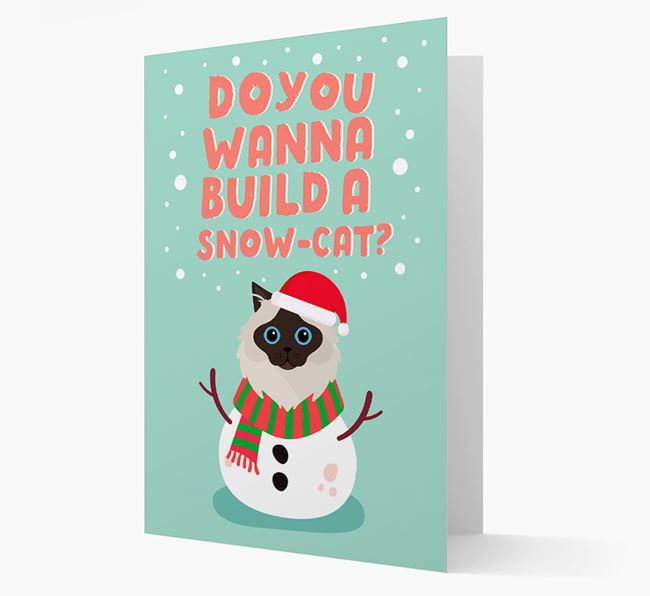 'Build a Snowcat' Christmas Card with your Cat Christmas Icon