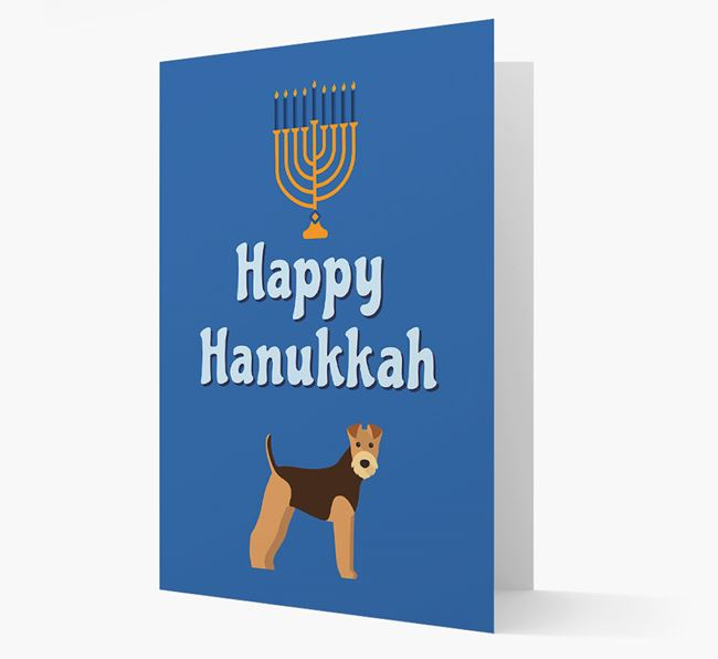 'Happy Hanukkah' - Personalized Airedale Terrier Card