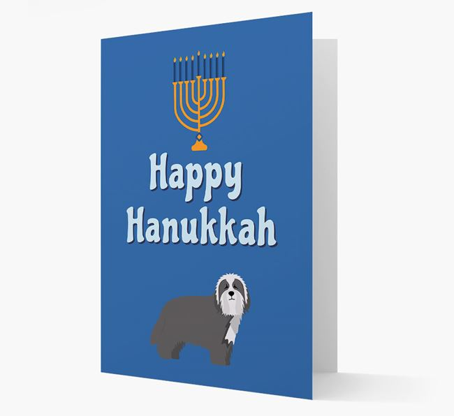 'Happy Hanukkah' - Personalized Bearded Collie Card