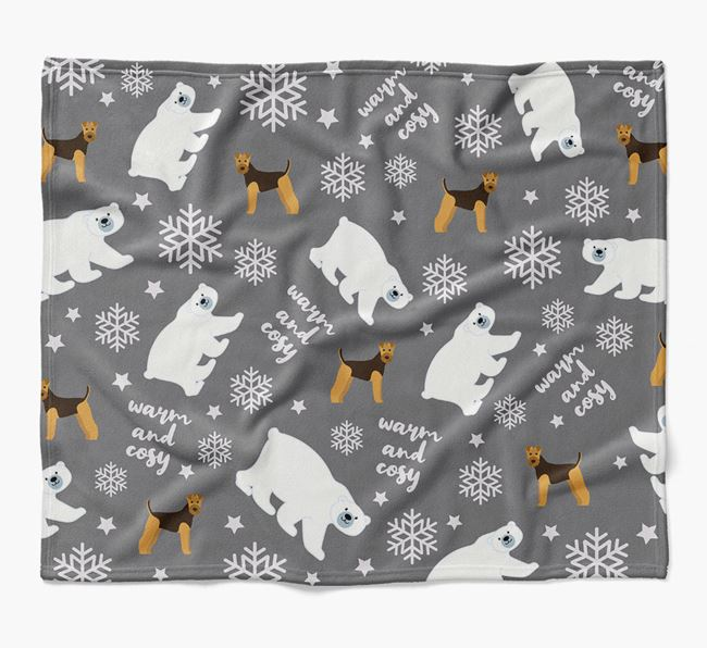 Polar Bear Pattern Blanket with Airedale Terrier Icons