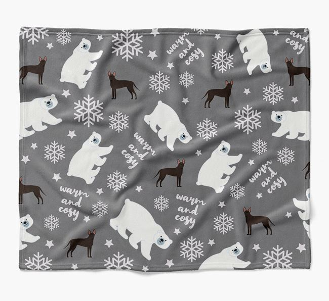 Polar Bear Pattern Blanket with American Hairless Terrier Icons