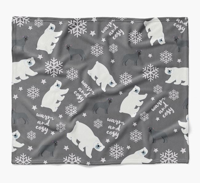 Polar Bear Pattern Blanket with American Pit Bull Terrier Icons