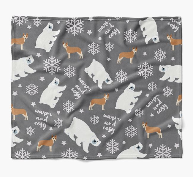 Polar Bear Pattern Blanket with Australian Cattle Dog Icons