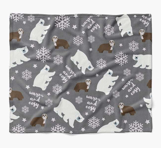 Polar Bear Pattern Blanket with Bearded Collie Icons