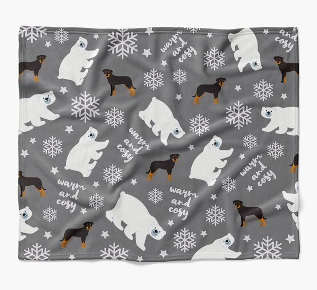Polar Bear Pattern Blanket with Beauceron Icons