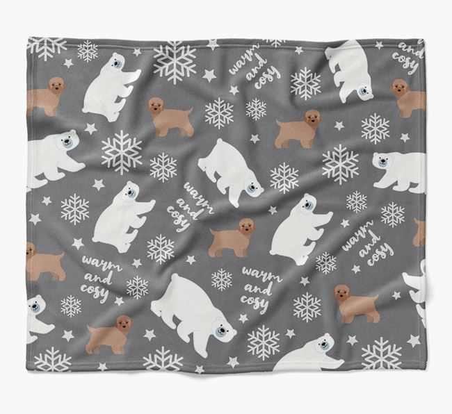 Polar Bear Pattern Blanket with Bich-poo Icons
