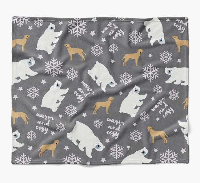 Polar Bear Pattern Blanket with Blue Lacy Icons