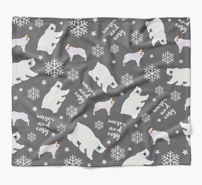 Polar Bear Pattern Blanket with Border Collie Icons