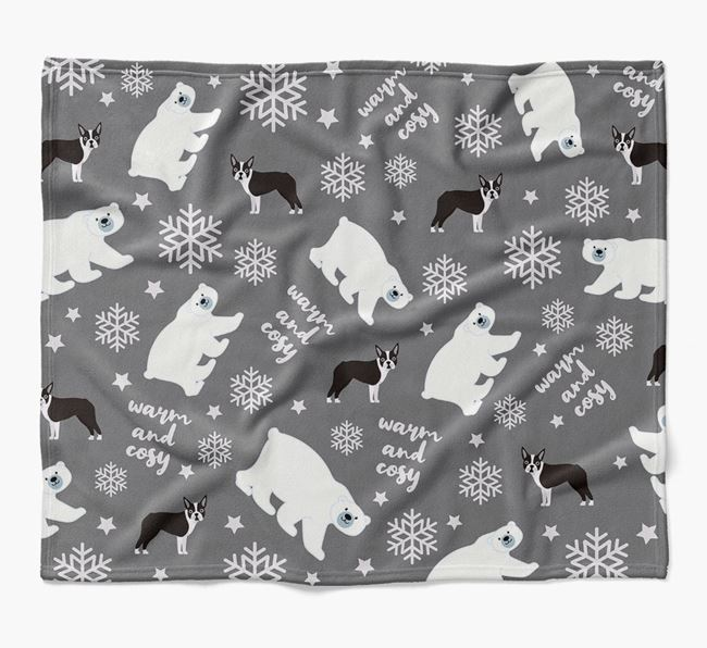 Polar Bear Pattern Blanket with Dog Icons