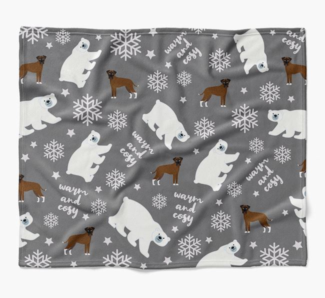 Polar Bear Pattern Blanket with Boxer Icons