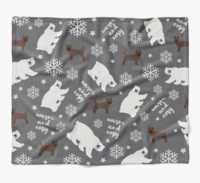 Polar Bear Pattern Blanket with Cairn Terrier Icons