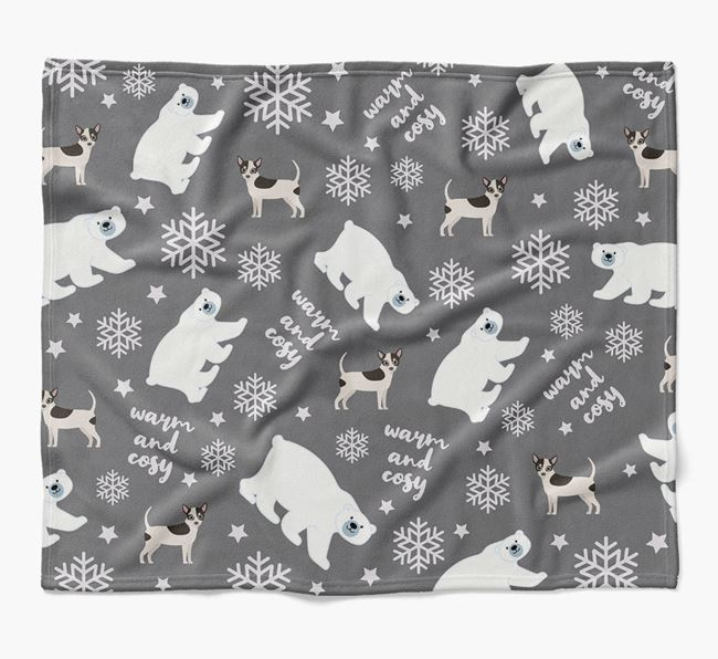 Polar Bear Pattern Blanket with Chihuahua Icons