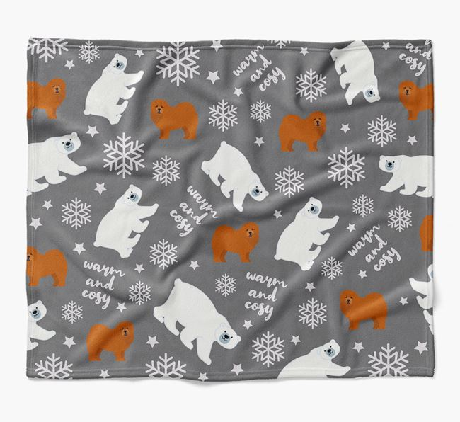 Polar Bear Pattern Blanket with Chow Chow Icons