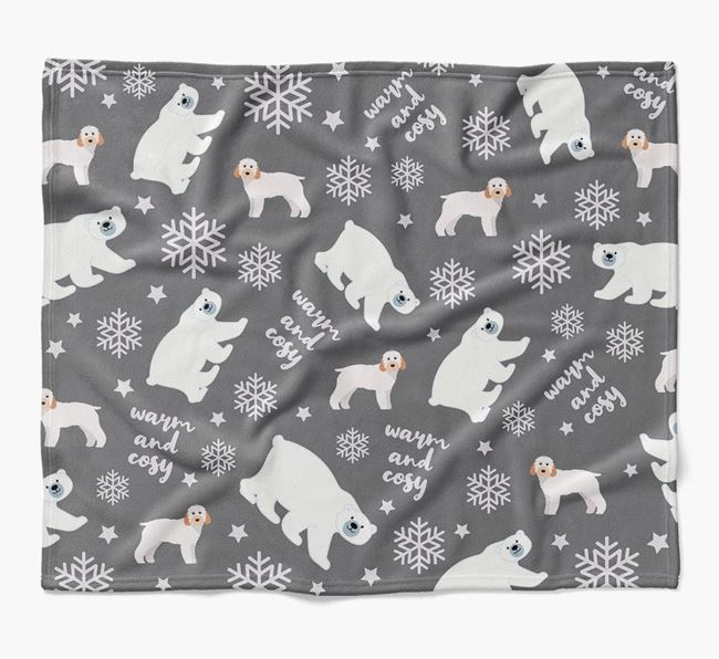 Polar Bear Pattern Blanket with Cockapoo Icons