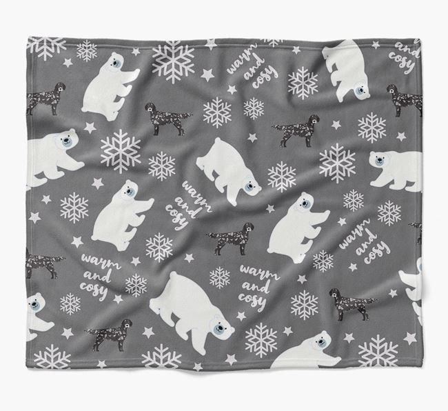 Polar Bear Pattern Blanket with English Setter Icons