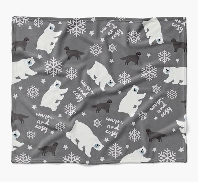 Polar Bear Pattern Blanket with Flat-Coated Retriever Icons