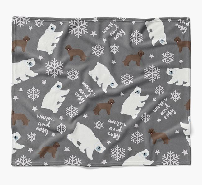 Polar Bear Pattern Blanket with Goldendoodle Icons