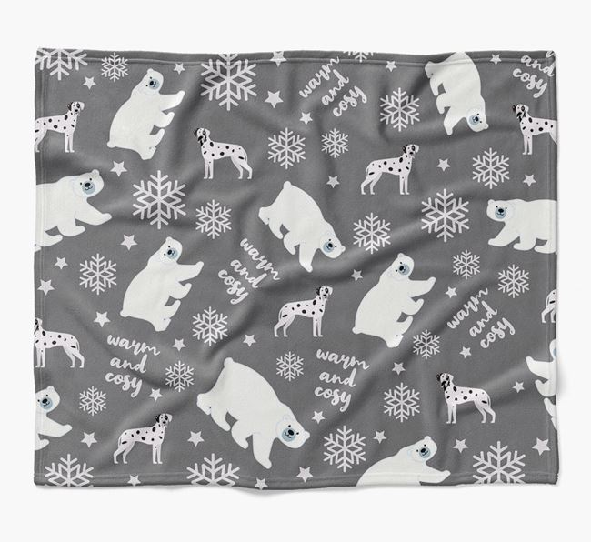 Polar Bear Pattern Blanket with Great Dane Icons