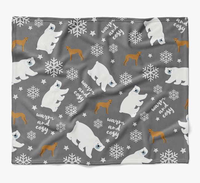 Polar Bear Pattern Blanket with Greyhound Icons