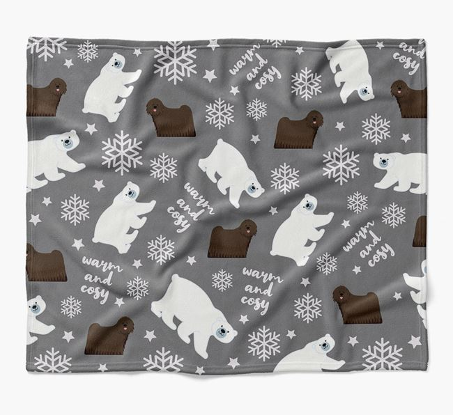 Polar Bear Pattern Blanket with Hungarian Puli Icons