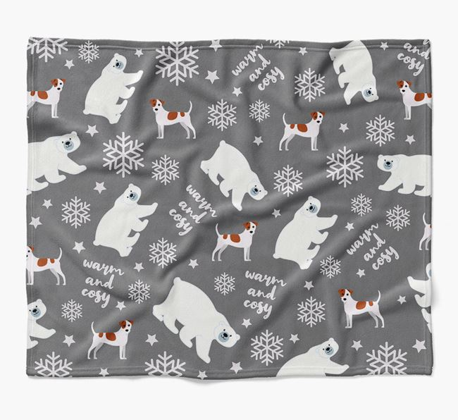 Polar Bear Pattern Blanket with Jack Russell Terrier Icons