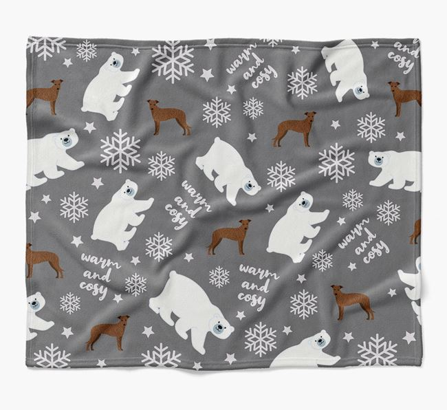 Polar Bear Pattern Blanket with Lurcher Icons
