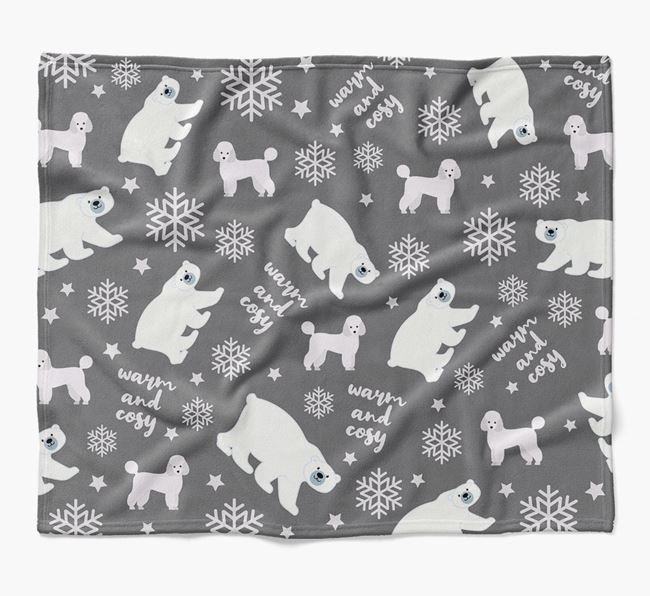 Polar Bear Pattern Blanket with Miniature Poodle Icons