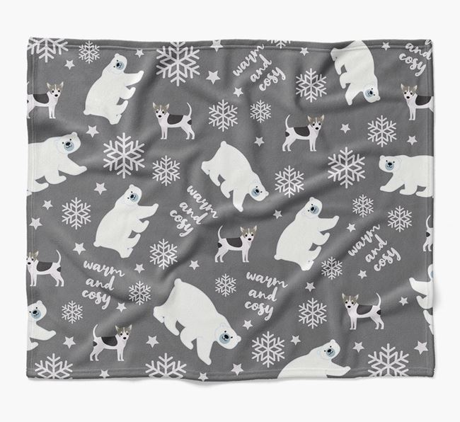Polar Bear Pattern Blanket with Mixed Breed Icons