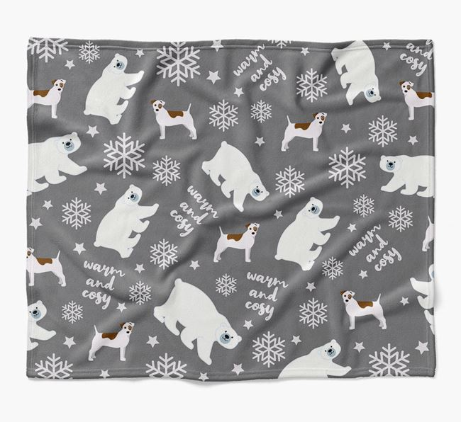 Polar Bear Pattern Blanket with Parson Russell Terrier Icons