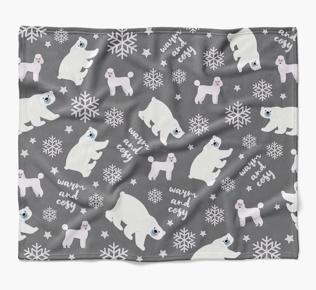 Polar Bear Pattern Blanket with Poodle Icons