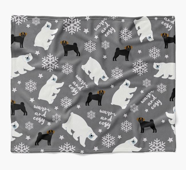 Polar Bear Pattern Blanket with Puggle Icons