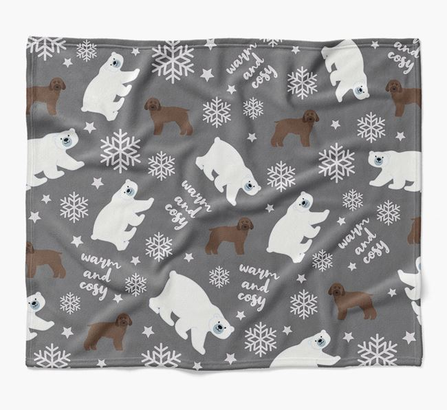 Polar Bear Pattern Blanket with Rescue Dog Icons